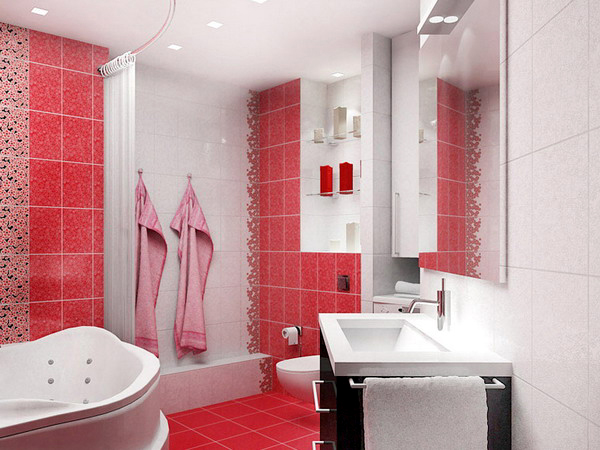 White and red bathroom ideas