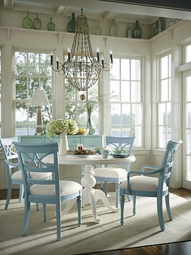Coastal living dining rooms